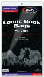 BCW-Silver-Age-Thick-Comic-Book-Bags-7-1-4-034-x-10-1-2-034-Qty-1-000