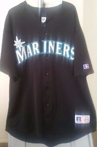 sports shoes 11d32 4c6bf Details about Seattle Mariners MLB Russell Vintage Black Mariners 2XL Jersey