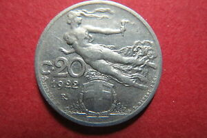 ITALY-1922-R-20-CENTECIMI-034-FLYING-NAKED-LIBERTY-034-Nickel-Coin-VF-Circulated