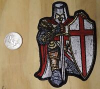 Knights Templar With Shield & Sword Iron-on / Sew-on Embroidered Patch 3x4 Inch