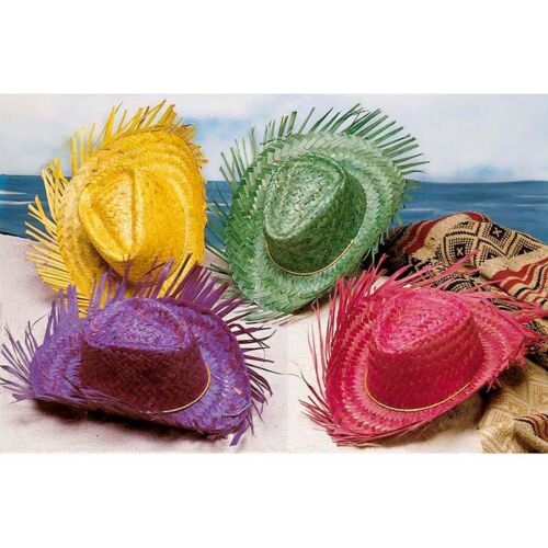 GELBER STROHHUT # Mexiko Hawaii Karibik Südsee Sommer Hut Kostüm Party Deko 2958