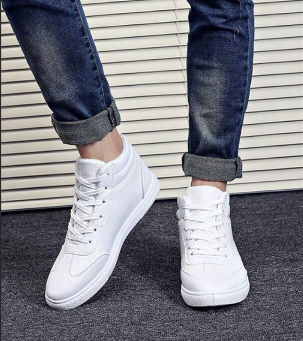 Mens vintage leather lace up board shoes Leather sneakers shoes sport shoes
