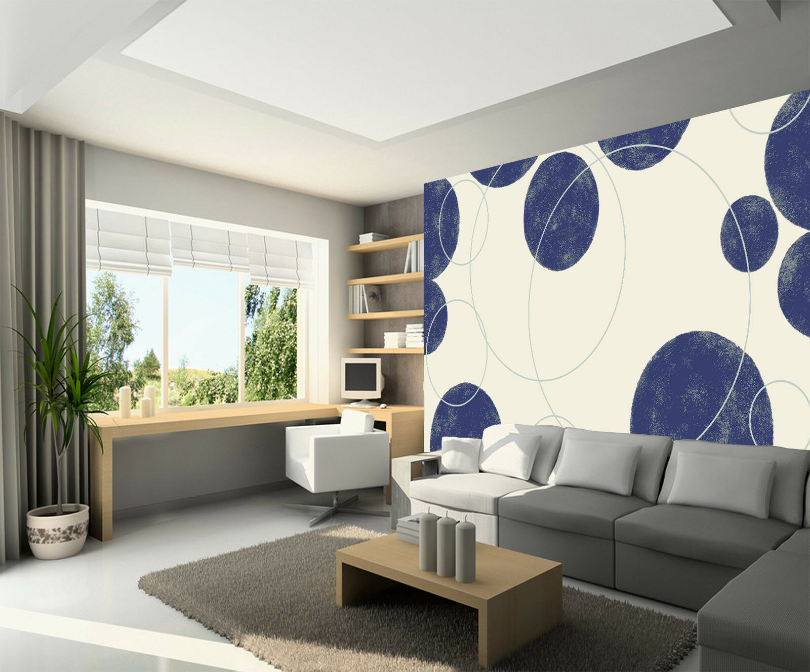 3D Blauer Punkt Kreis 8 Tapete Wandgemälde Tapete Tapeten Bild Familie DE Summer | Kompletter Spezifikationsbereich  | Feinen Qualität  | Sonderpreis