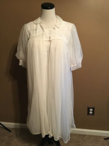 Vintage Chiffon Peignoir Set Miss Siren White Gown