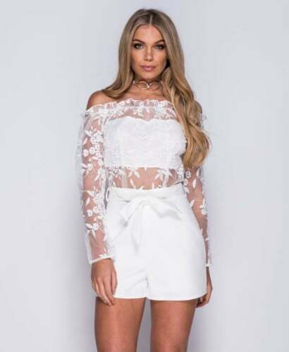 Ladies Black White Floral Embroidered Mesh Bardot Contrast Playsuit UK Size 8-14