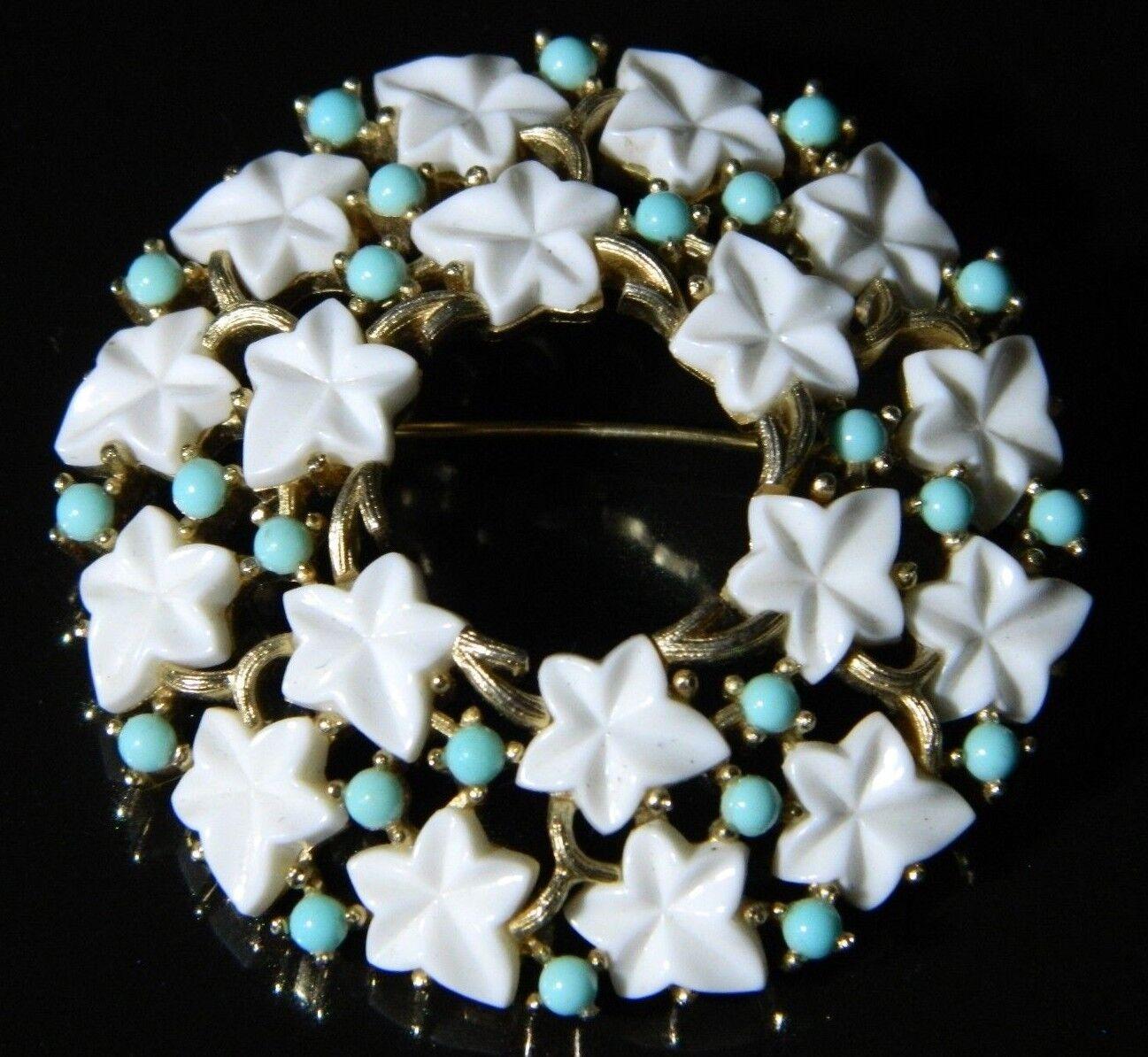 CROWN TRIFARI gold Tone bluee Cabochon White Lucite Leaf Flower Pin Brooch