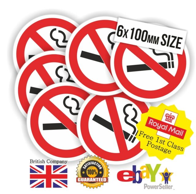 6 x 100mm LARGE CLEAR NO SMOKING Stickers Office Shop Taxi Car Fleet Warehouse