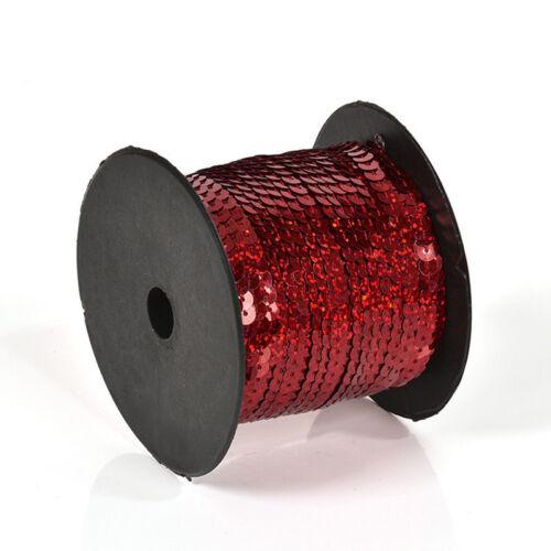 2 Rolls Paillettes Sequins 6mm Flat Sequin Trim Sequin String Ribbon DIY Crafts