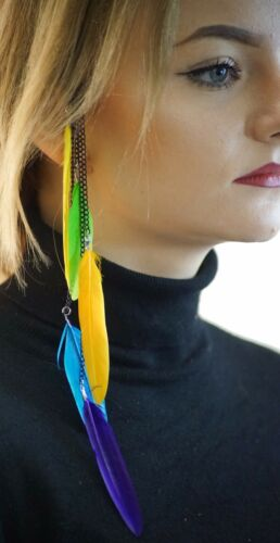 Costume//PARTY//Retrò//anni/'80//Hippy Multi Colore Piuma Accessorio Per Capelli