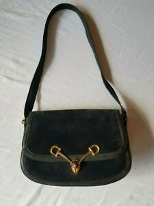 0f09795e88c0 Image is loading Vintage-Gucci-Navy-Blue-Leather-Suede-Purse-Horse-