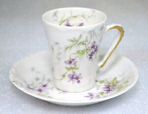 Haviland Limoges Antique (1903) Purple Floral Chocolate Cup and Saucer