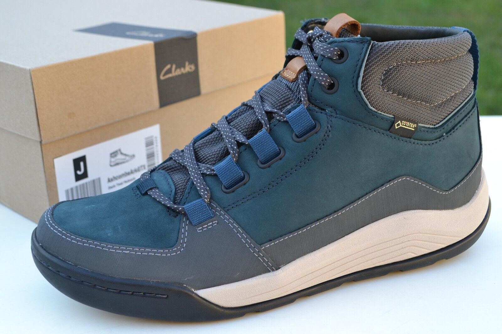 Clarks BNIB Mens Walking Hiking Boots ASHCOMBE ARK GTX Dark Teal Leather UK 12