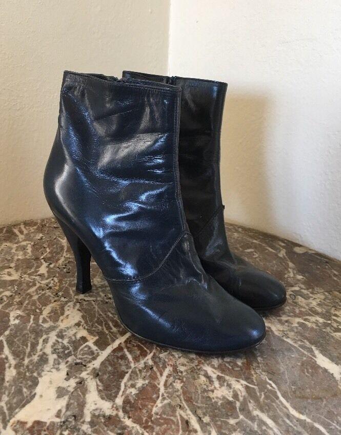 Rare Marc Jacobs Vintage Calfskin Ankle Boots Blue Size 37
