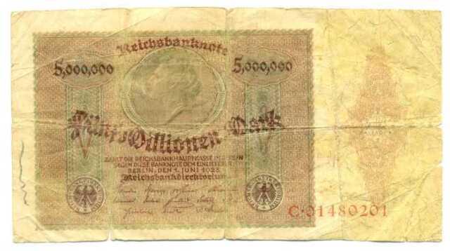 Germany Weimar Republic Reichsbanknote 5 Millionen Mark 1.6. 1923 VG #88
