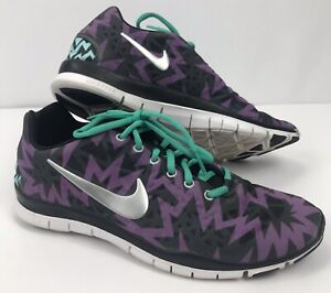 competitive price f4eb0 6488e Details about Nike Womens 10 Mens 8 Free TR Fit 3 Purple Teal Chevron  Sneakers Black Purple