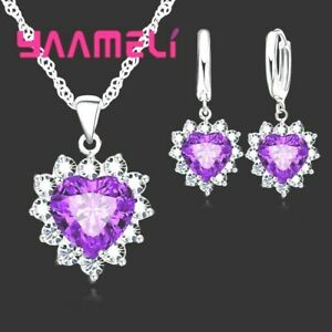 925-Sterling-Silver-Very-Dark-Purple-CZ-Crystal-Heart-Necklace-And-Earring-Set