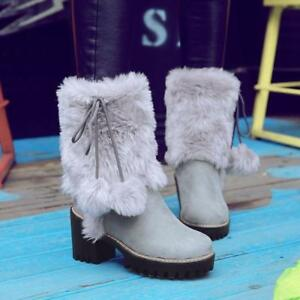 SWEET-Winter-Women-Girl-Warm-Fur-Snow-Boot-Leather-Block-High-Heels-Shoes-SZ