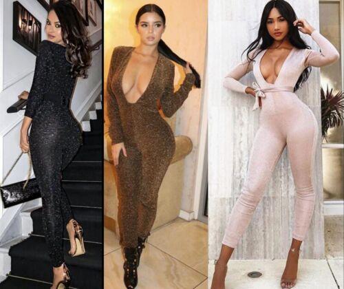 Femmes Paillettes Combinaison extensible moulante Parti Pantalon Manches Longues Multi Tie Strap
