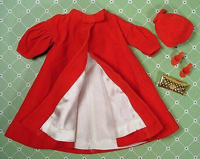 Vintage Barbie Clothes 939 Red Flare Coat Hat Red Open Toe Heels + Clutch VGUC
