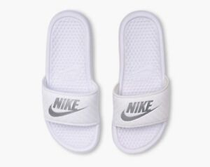 1366e81aff369b Women Nike Benassi JDI Just Do It Slides White Metallic Silver ...