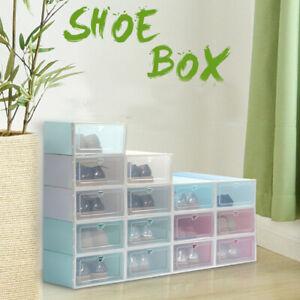 Foldable-Shoe-Box-Storage-Plastic-Transparent-Case-Stackable-Organizer