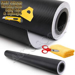 """72"""" x 60"""" Black Carbon Fiber Vinyl Wrap 3D Bubble Free Air Release 6ft x 5ft"""