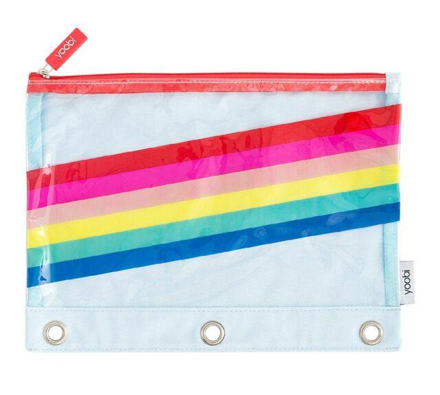 New Yoobi Binder Clear Pencil Case Holder Pouch Rainbow