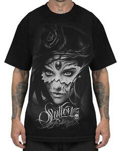 Sullen-Athena-T-shirt-pour-hommes-noir-Crane-Rose-Gothique-Tatouage-T-shirt