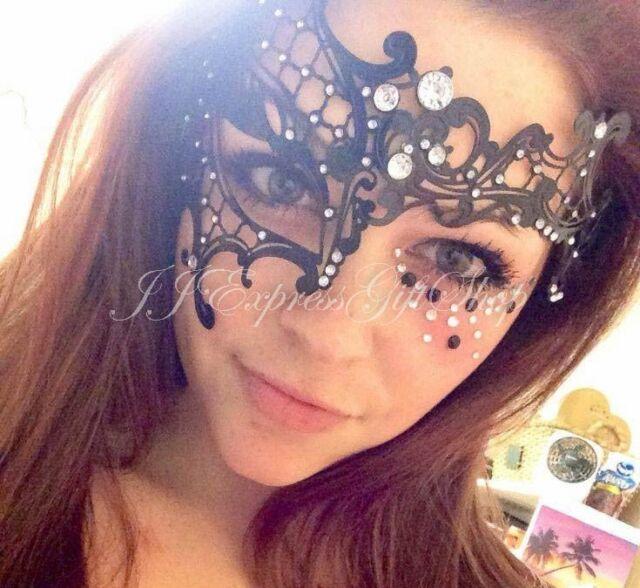 "Black ""Half Phantom"" Laser Cut Metal Venetian Masquerade Mardi Gras Mask"