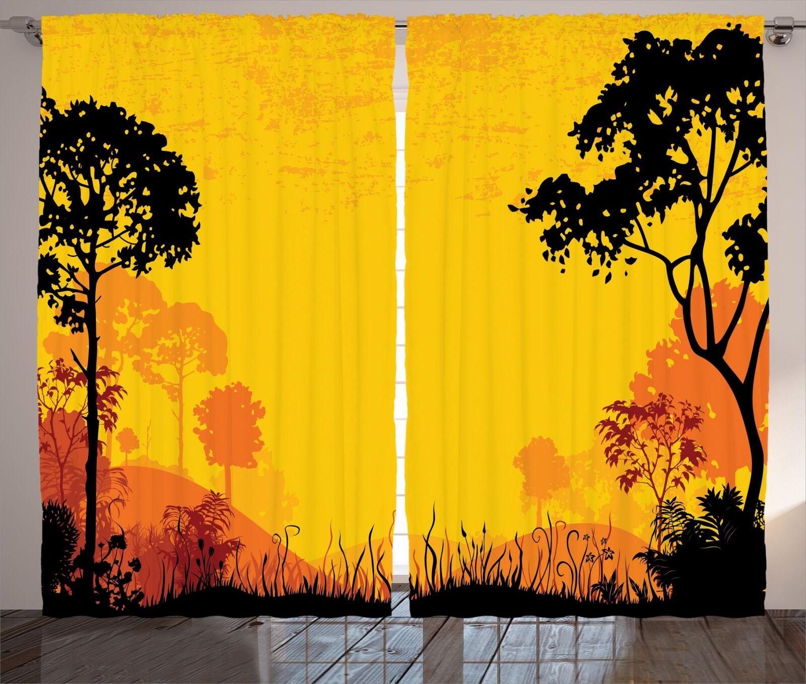 Woodland Cortinas 2 Panel Set para Decoración 5 Tamaños Disponibles Ventana Cortinas