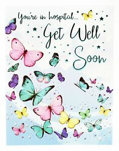 Details about Get Well Soon Greeting Card & Envelope Seal Speedy Recovery  Operation Poorly