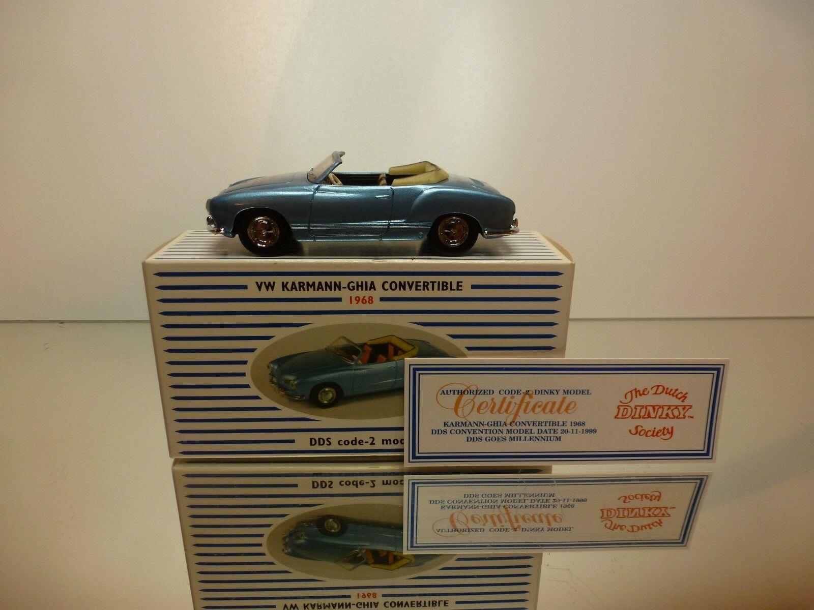DINKY giocattoli DDS-3 VW VOLKSWAGEN KARuomoN GHIA - blu 1 43 RARE - VERY GOOD IN scatola