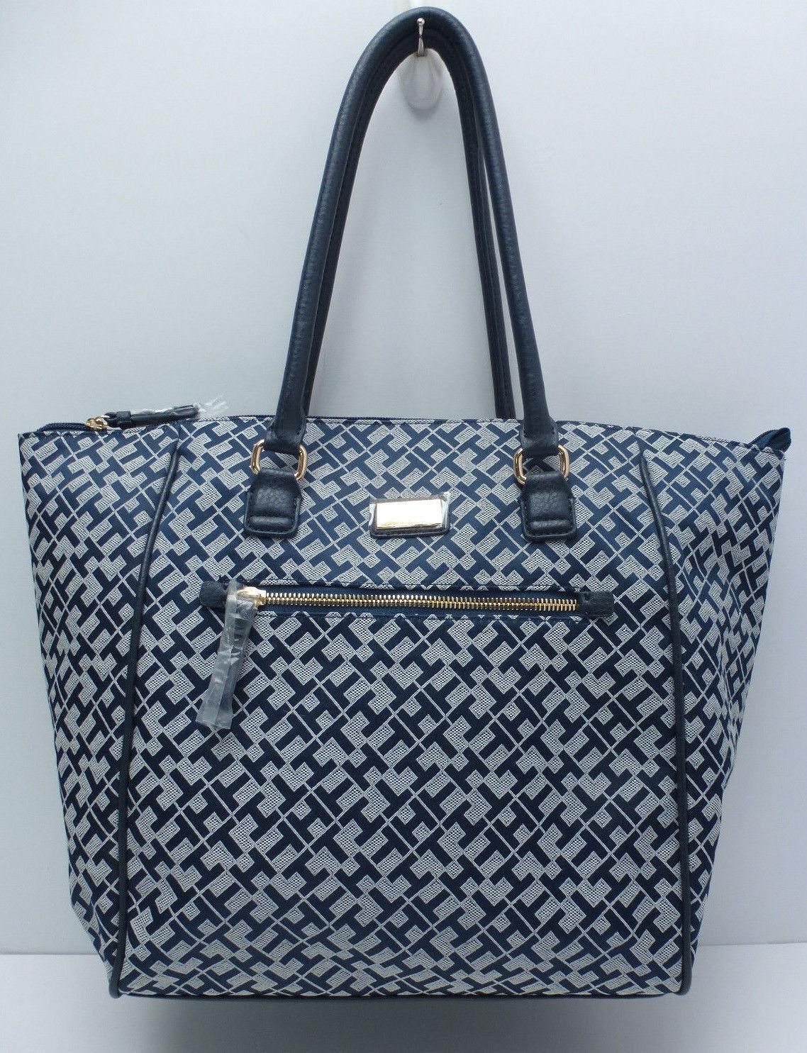 Buy Tommy Hilfiger Women Handbag  navy Blue white W gold Large Shoulder Tote  online  51c3ec6582