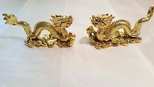 Two Gold coloured small Resin Chinese Dragon Ornaments New