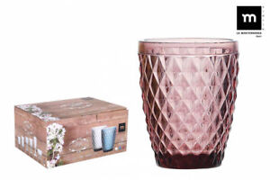 6X-SIDARI-PINK-Vintage-tumblers-drinking-glasses-270ml-beautiful-gift-box
