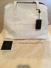 NWT Authentic Mauro Governa White Crocodile Leather Handbag Purse Bag Italy