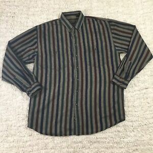 Eddie-Bauer-Outdoor-Striped-Grey-Red-Blue-Long-Sleeve-Button-Down-Shirt-Size-XL