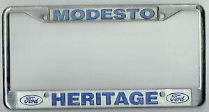 Ford Dealership Modesto >> Details About Super Rare Modesto California Heritage Ford Vintage Dealer License Plate Frame