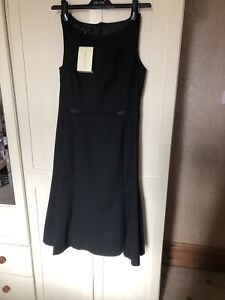 LAURA-ASHLEY-Ladies-Black-Sleeveless-Bow-Trim-Tailored-Midi-Dress-Size-10-NEW