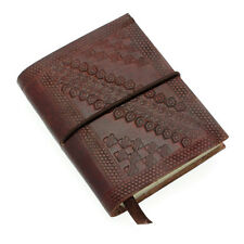 Embossed Leather Notebook, Brown, 60 Unlined Recycled Paper Pages Journal Diary