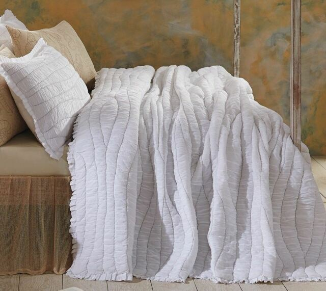 King Quilt White Cotton Voile Gray Hand Stitched Ruched Waves Ruffle Edge Aurora