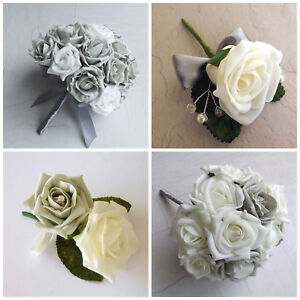 12 Wedding Ivory Rose Buttonhole Package