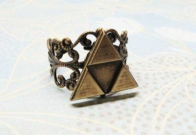Triangles Ring, bronze filigree, inspired by Legend of Zelda Triforce