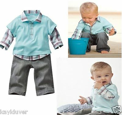 NEW BABY TODDLER CUTE TSHIRT JUMPER PANTS JEANS BLUE CHECKERED 3 PIECES SET SIZE