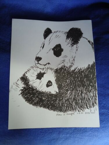 Panda Mom and Baby Large Print 8-1//2x11 Ready for Framing