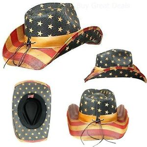 d38ba086 Details about Men's Vintage Tea-Stained USA American Flag Shape-It Brim  Cowboy Hat w/ Western