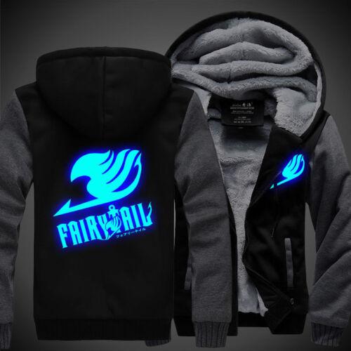 Cosplay Winter Luminous Jacket Sweatshirts Anime Fairy Tail Thicken Hoodie Coat