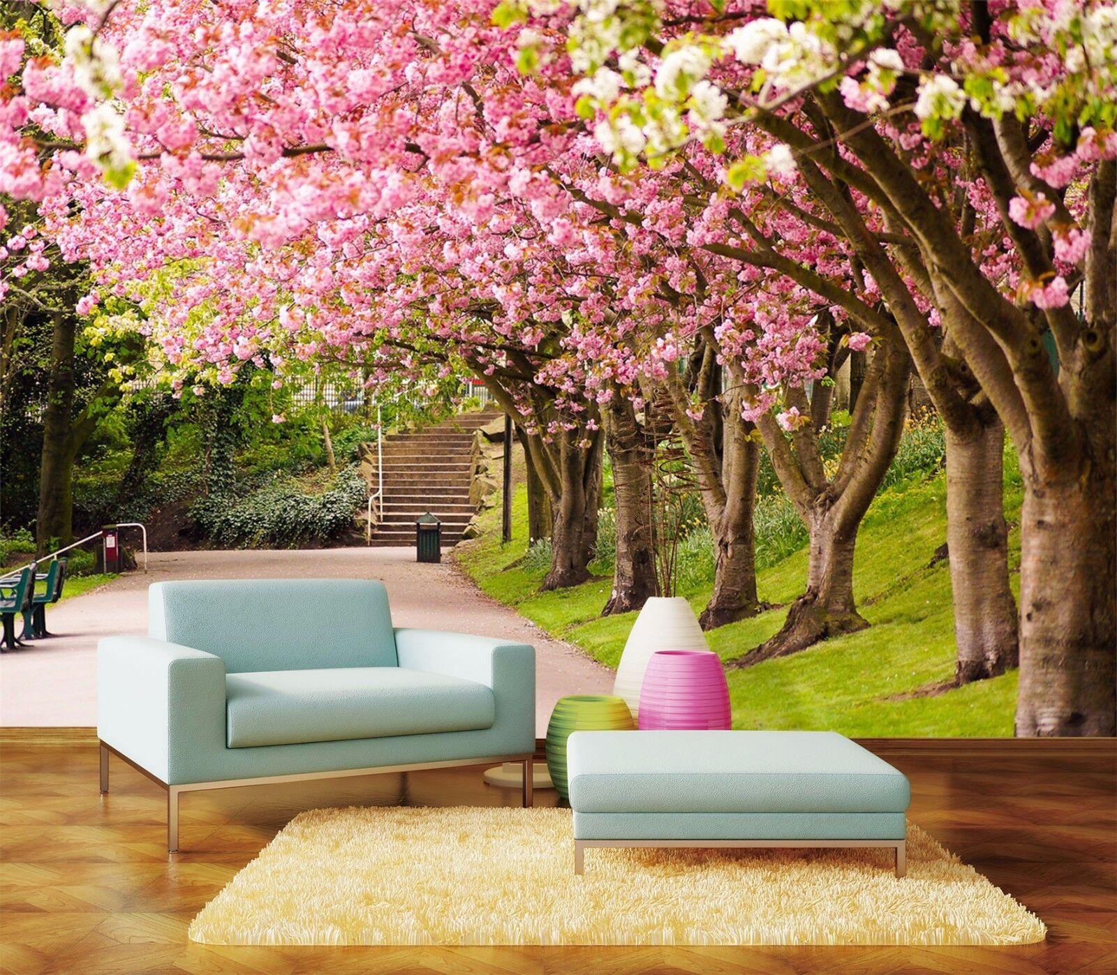 3D Trees rose Flowers 1859 Wallpaper Decal Dercor Home Kids Nursery Mural Home