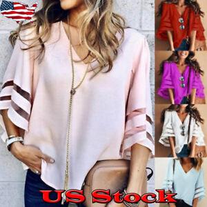 Women-039-s-Bell-Flare-Sleeve-Blouse-V-Neck-Casual-Boho-Loose-Shirt-Tops-T-Shirt-NEW