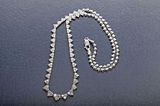 "Designer $10,000 3ct Diamond HEART 14k White Gold Necklace 18"""